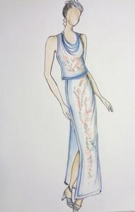 abito , colore utilizzato china e matita acquerellabile