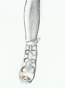 gamba con sandali