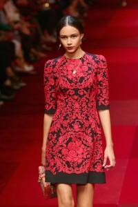 abito rosso e nero Dolce & Gabbana