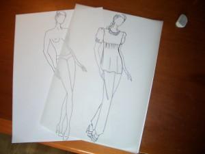 disegno guida e disegno con abito