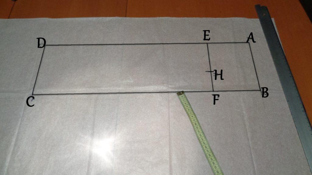 rettangolo per costruire la manica base davanti
