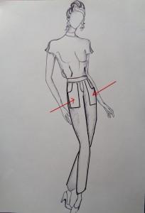 modella con pantaloni a toppa taglio fantasia