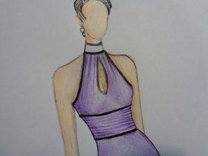 Particolare scollatura e cintura con nervature