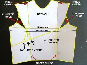 schema cartamodello corpino asimmetrico