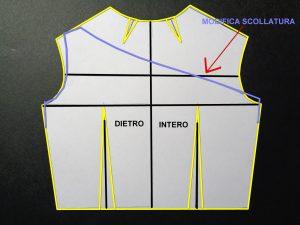 schema cartamodello dietro, modifica scollatura