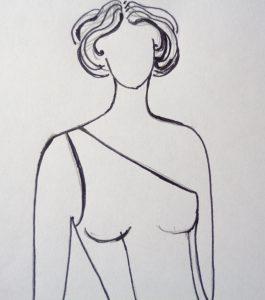 modella con corpino monospalla
