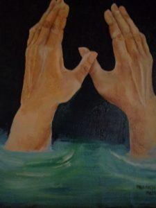 artisti, mani che annegano nel mare
