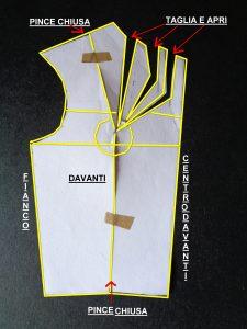Schema cartamodello per scollatura arricciata a 6 pieghe