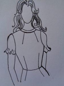 Esempio n°1 di abito con scollatura arricciata