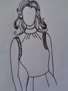Esempio n°3 abito con scollatura arricciata