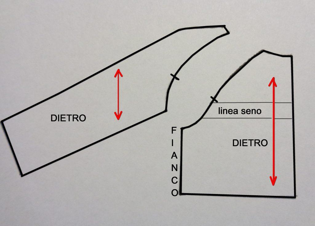 Sviluppo e schema cartamodello corpino dietro con manica raglan