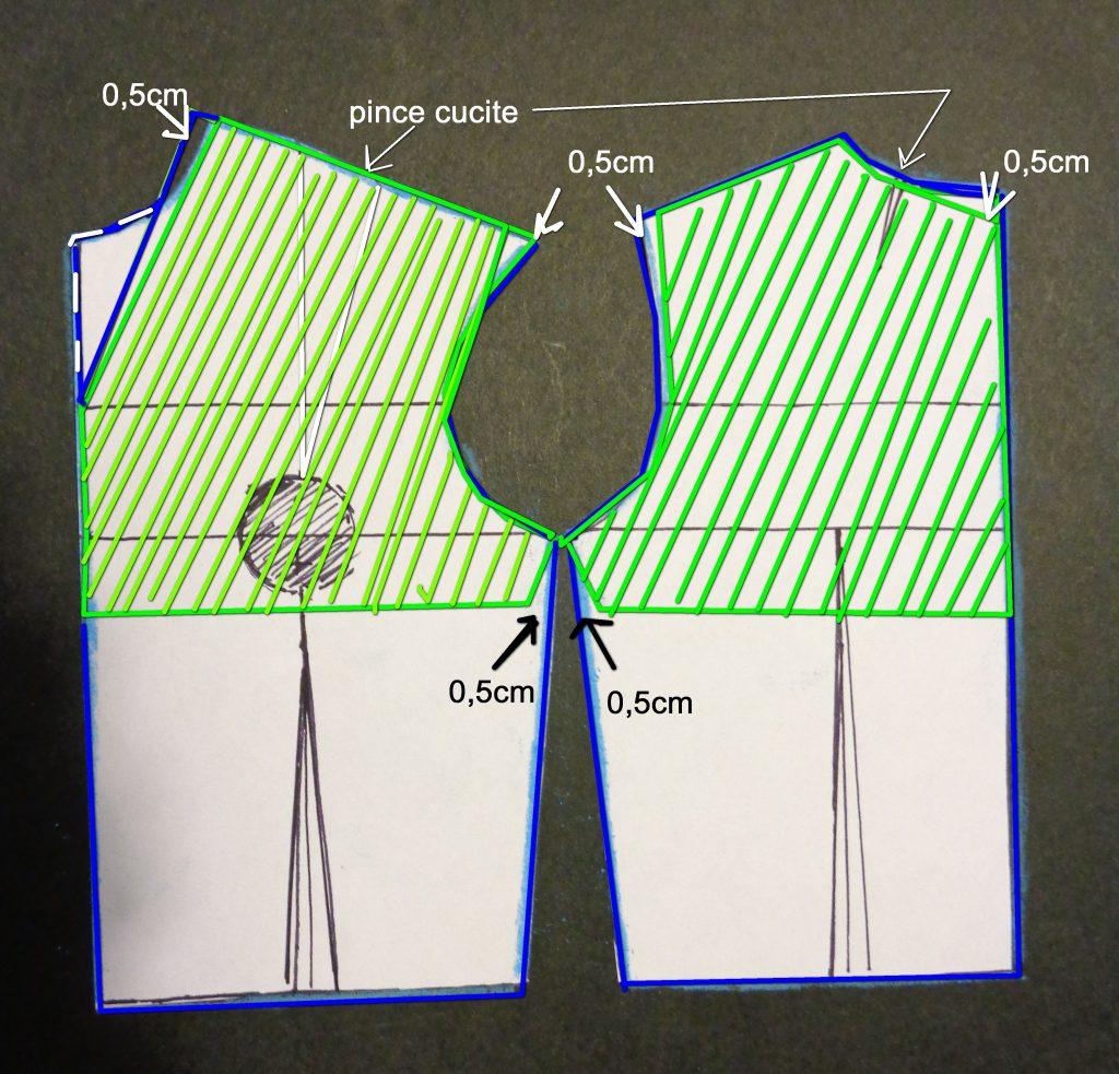 paramonture modellate combinate per scollatura a V