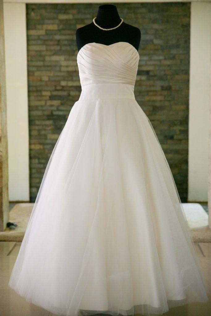 Vestito da sposa con corpino drappeggiato