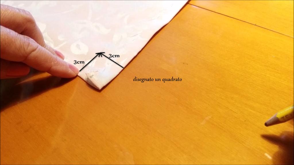 Ecco il quadrato disegnato sull'angolo