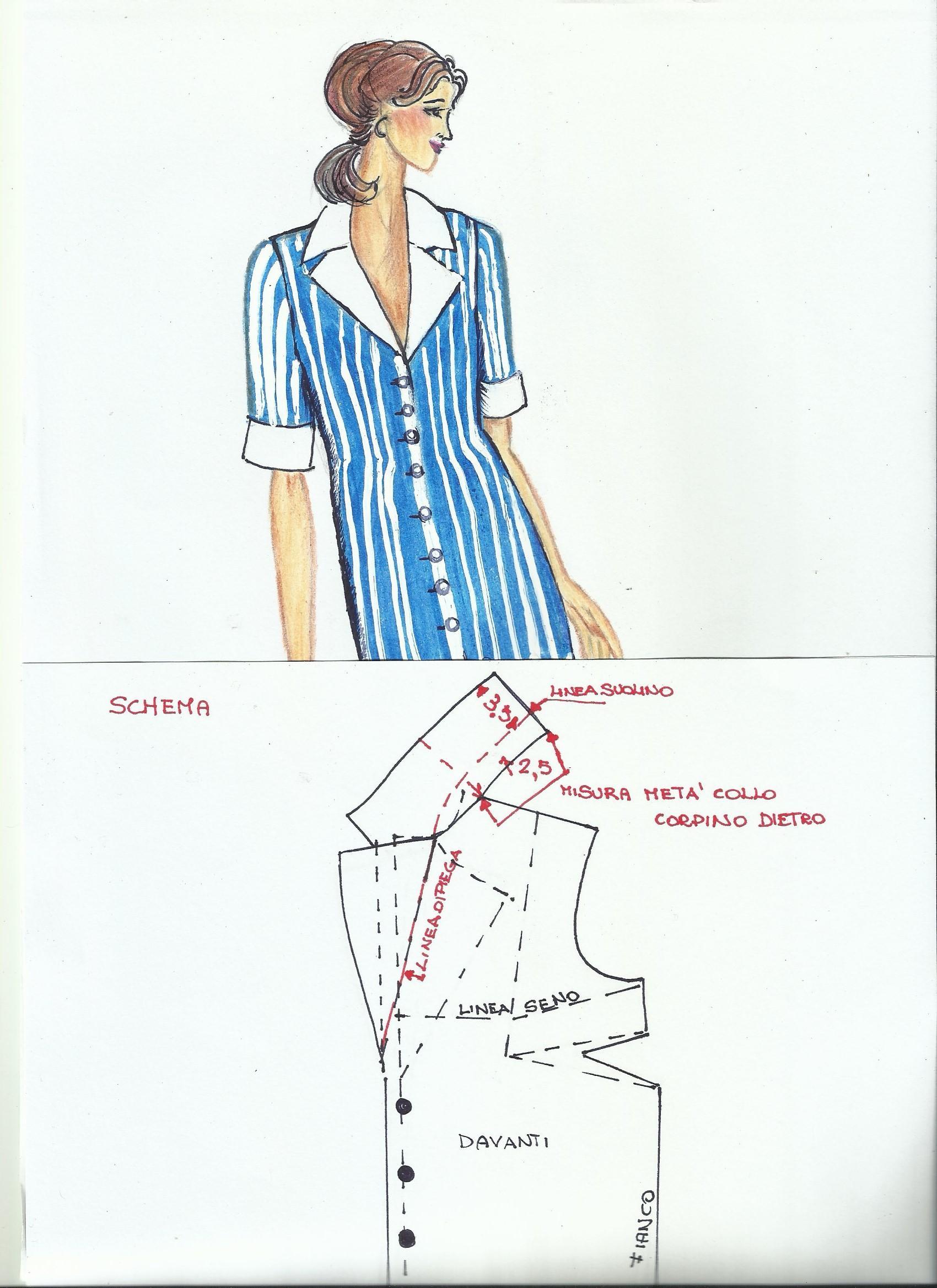 Immagine camicetta con collo sportivo + schema cartamodello