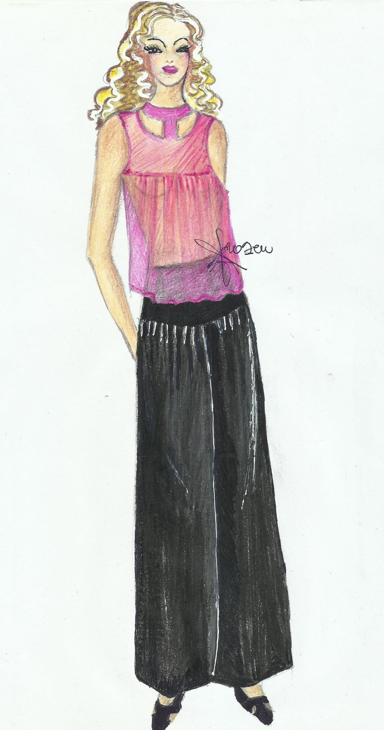 pantalone abbinato a camicetta di chiffon