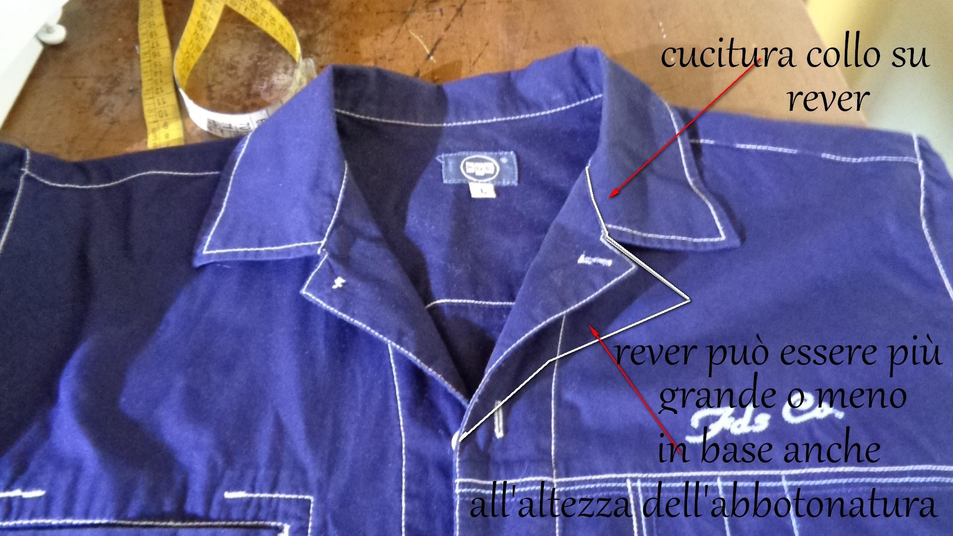 camicia uomo , esempio come fare un collo sportivo