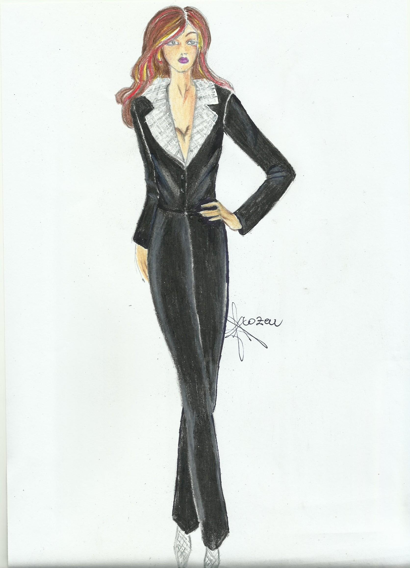 tailleur nero in velluto