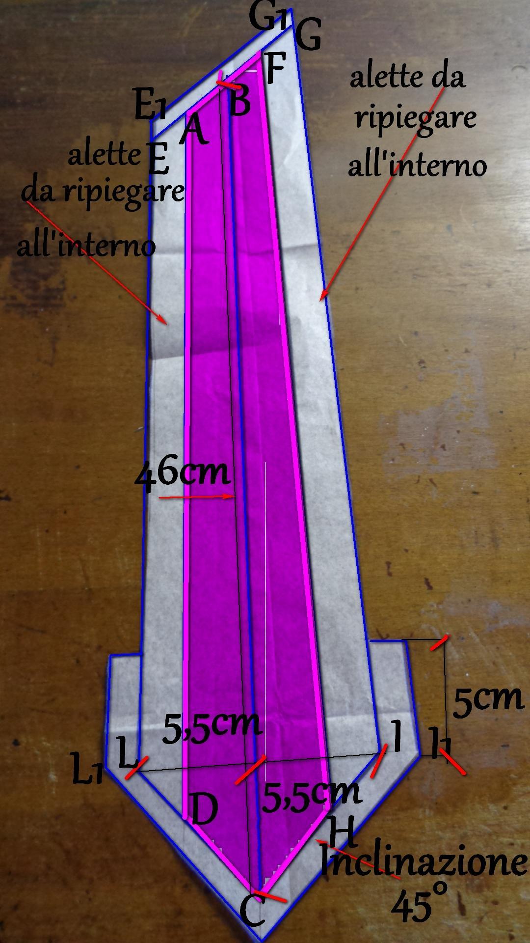3° pezzo cartamodello cravatta