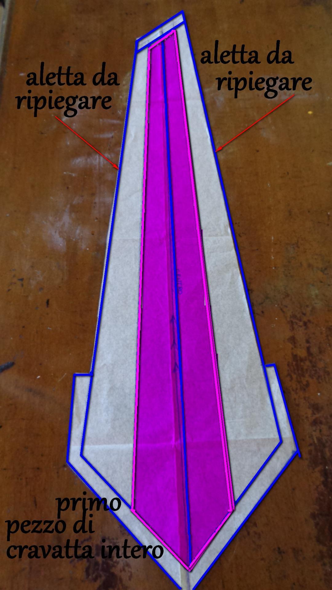 Cartamodello 1°pezzo cravatta classica per intero