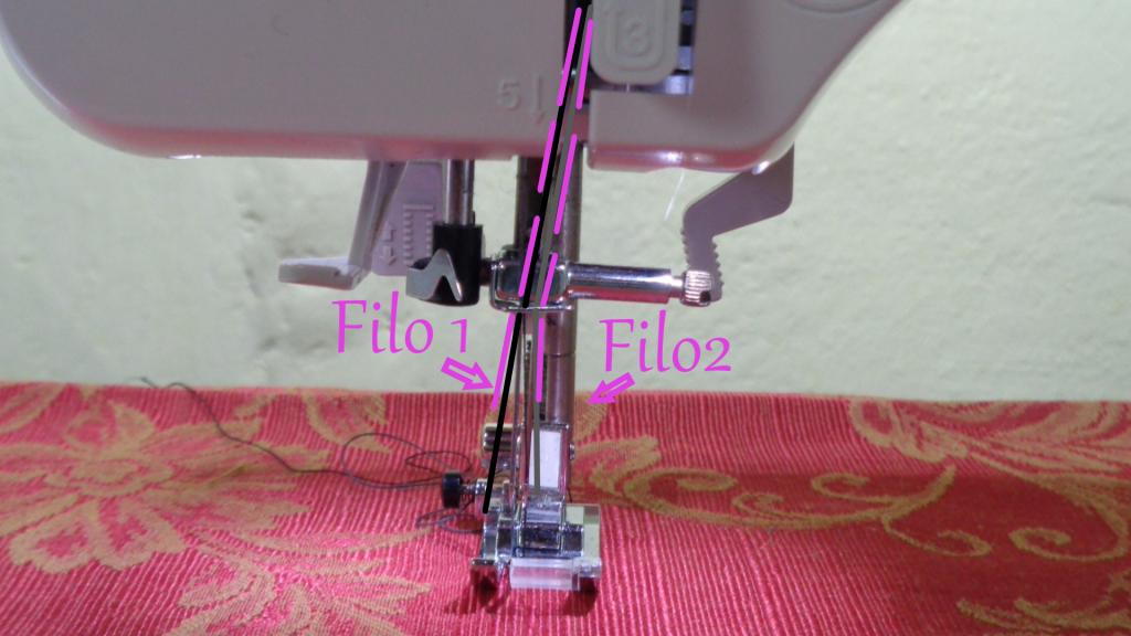 Parte inferiore con 2 fili che serviranno per cucire ago doppio